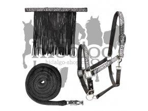 Ohlávka Zebra set s vodítkem a třásněmi